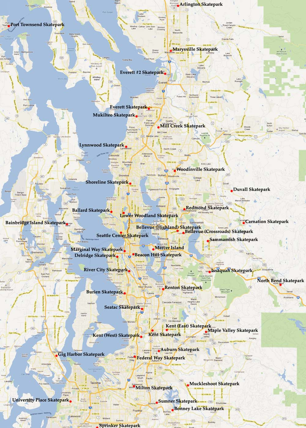 Similiar Map Of Seattle Area And Suburbs Keywords